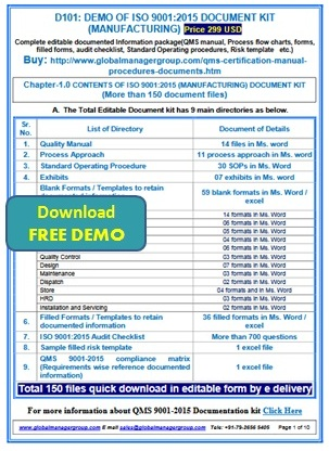 Iso 9001 2015 documents manual process audit checklist for Iso 9001 templates free download