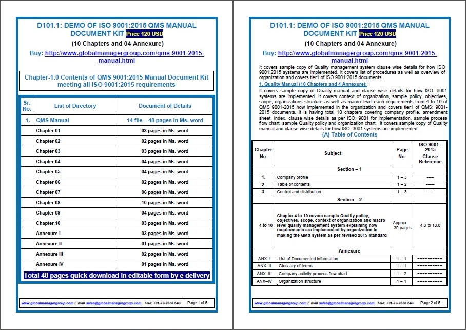 Grab Iso 9001 Quality Manual From Global Documentation