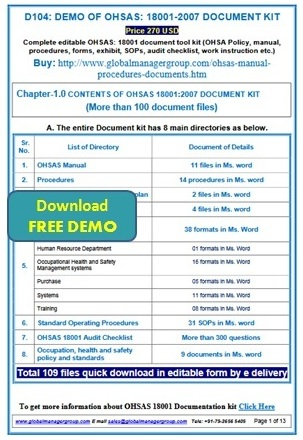 ohsas 18001 manual audit checklist documentation consultancy rh documentationconsultancy com ISO 18001 PDF OSHA 18001 Certification